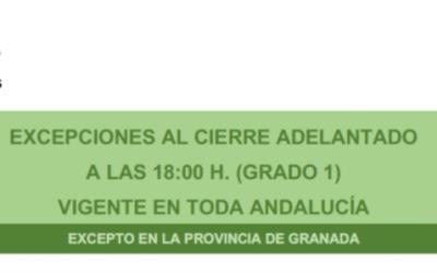 Excepciones al cierre adelantado a las 18:00 H.(GRADO 1) Vigente en toda Andalucía excepto en la provincia de Granada.